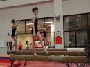 Hilary Mauro, Kat Ding, and Grace Taylor training Beam Routines for the 2009 season